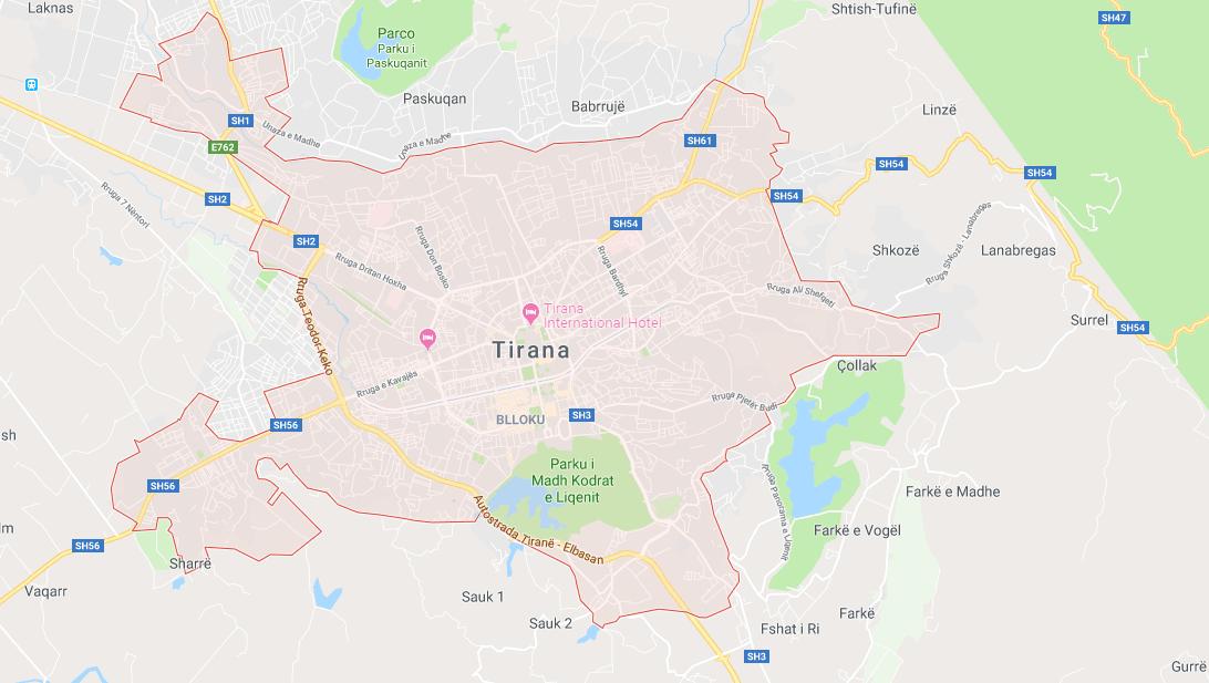 mappa di tirana